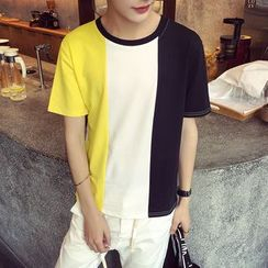 JUN.LEE - Color Block T-Shirt