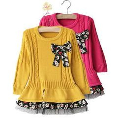 Cuckoo - Kids Floral Print Crew Neck Long Sleeves Dress