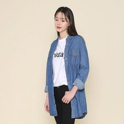 Envy Look - Dual-Pocket Long Denim Shirt