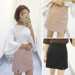 MATO - Plain Slit A-line Skirt