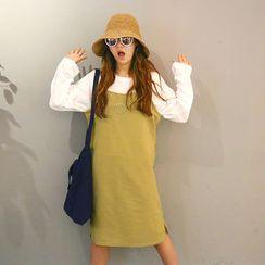 NANING9 - Cotton Spaghetti-Strap Dress