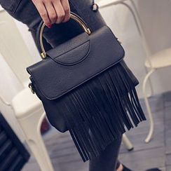 Youme - Faux Leather Fringe Handbag