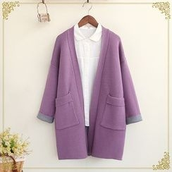 Fairyland - Pocketed Open Front Long Cardigan