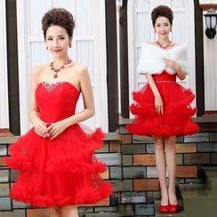 Bridal Workshop - Strapless Tiered Mini Prom Dress