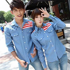 Igsoo - Couple Long-Sleeve Print Denim Shirt