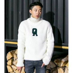 ABOKI - Lettering-Applique Knit Sweater