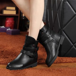 ZOHOUR - Buckled Hidden Wedge Short Boots