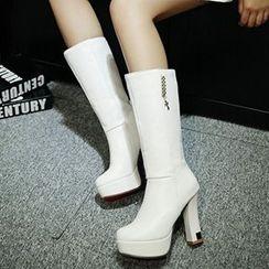 Sidewalk - Platform Block Heel Mid Cuff Boots