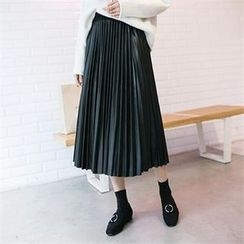 PIPPIN - Pleated Faux-Leather Long Skirt
