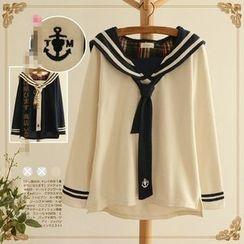 Aigan - Long-Sleeve Sailor-Collar Tie-Front Top