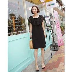 Lemite - Round-Neck Lace-Capelet Shift Dress