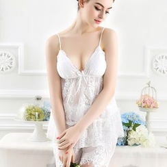 Charming Lover - Pajama Set: Sleeveless Spaghetti-Strap Top + Lace Shorts