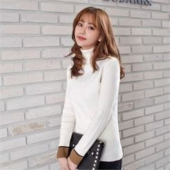 Styleberry - Turtle-Neck Contrast-Trim Knit Top