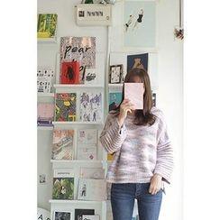 CHERRYKOKO - Drop-Shoulder Multicolor Knit Top