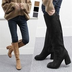 Reneve - Chunky-Heel Faux-Suede Tall Boots