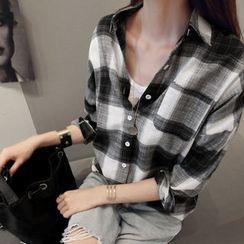 NANING9 - Check Roll-Up Sleeve Shirt
