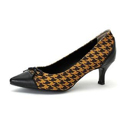 MODELSIS - Ribbon-Accent Houndstooth-Pattern Pumps