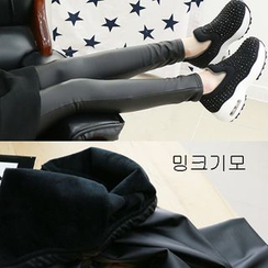 Dodostyle - Brushed-Fleece Lined Faux-Leather Leggings