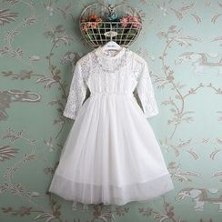 Kidora - Kids Lace Panel Long-Sleeve Tulle Dress
