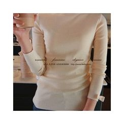 LEELIN - Turtle-Neck Bow-Sleeve Knit Top
