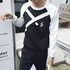 JORZ - Set: Printed Raglan Sleeve Pullover + Plain Jogger Pants