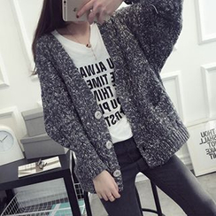 FR - Marled V-Neck Loose Fit Cardigan