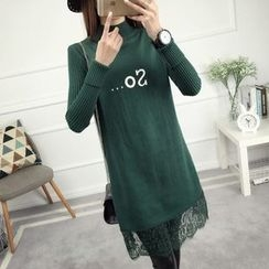 anzoveve - Lace Hem Mock Neck Knit Dress