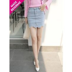 BBAEBBAE - Inset Inner Shorts Denim Mini Skirt