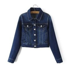 Chicsense - Washed Denim Cropped Jacket