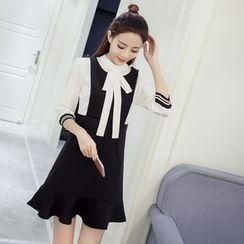 Sienne - 3/4-Sleeve Mock Two Piece A-line Dress