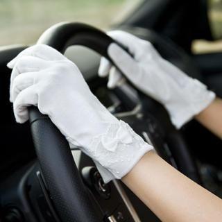 RGLT Scarves - Bow-Accent Lace-Trim Gloves