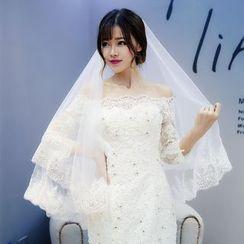 Nymphie - Sequined Lace Trim Wedding Veil
