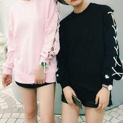 YOSH - Lace-Up Sleeve Sweatshirt