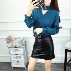 Baliz - Set : Stand-collar Top + Faux Leather Skirt