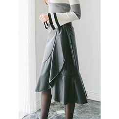 REDOPIN - Wrap-Front Faux-Leather Midi Skirt