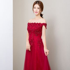 Royal Style - Short-Sleeve Off Shoulder Evening Gown