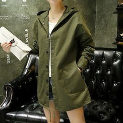 Fashion Street - Back Print Hooded Long Jacket