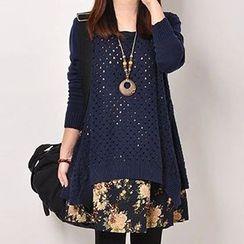 Fashion Street - Floral Print Hem Open Knit Sweater Dress