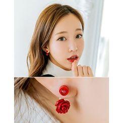 soo n soo - Rhinestone Floral Earrings