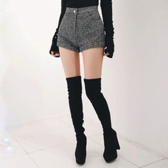 DABAGIRL - Cuff-Hem Wool Blend Mélange Shorts
