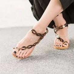 VIVIER - Toe-Loop Cutout-Detail Wedge-Heel Sandals