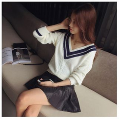 Ashlee - 配色邊V領針織上衣