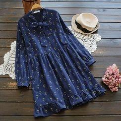 YOYO - Tie-Neck Printed A-Line Dress