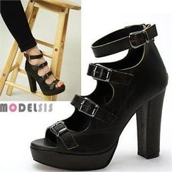 MODELSIS - Genuine Leather Buckled Platform Heels