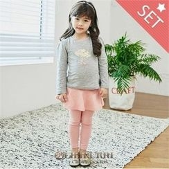 LILIPURRI - Girls Set: Illustration T-Shirt + Inset Flare Skirt Leggings