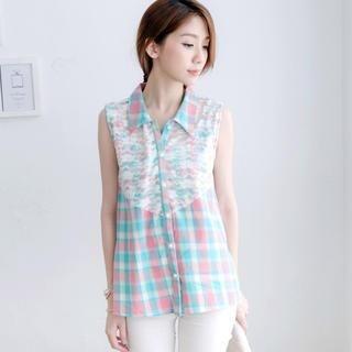 Tokyo Fashion - Lace-Panel Plaid Sleeveless Blouse
