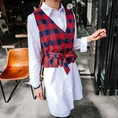 Seoul Fashion - Set: Tie-Front Checked Vest + Long Cotton Shirt