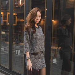 GUMZZI - Set: 3/4-Sleeve Knit Top + Miniskirt