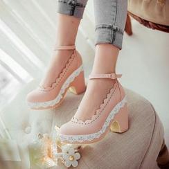 Pastel Pairs - 粗跟高跟鞋连踝带