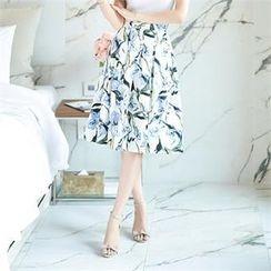 O.JANE - Band-Waist Pattern Midi Skirt